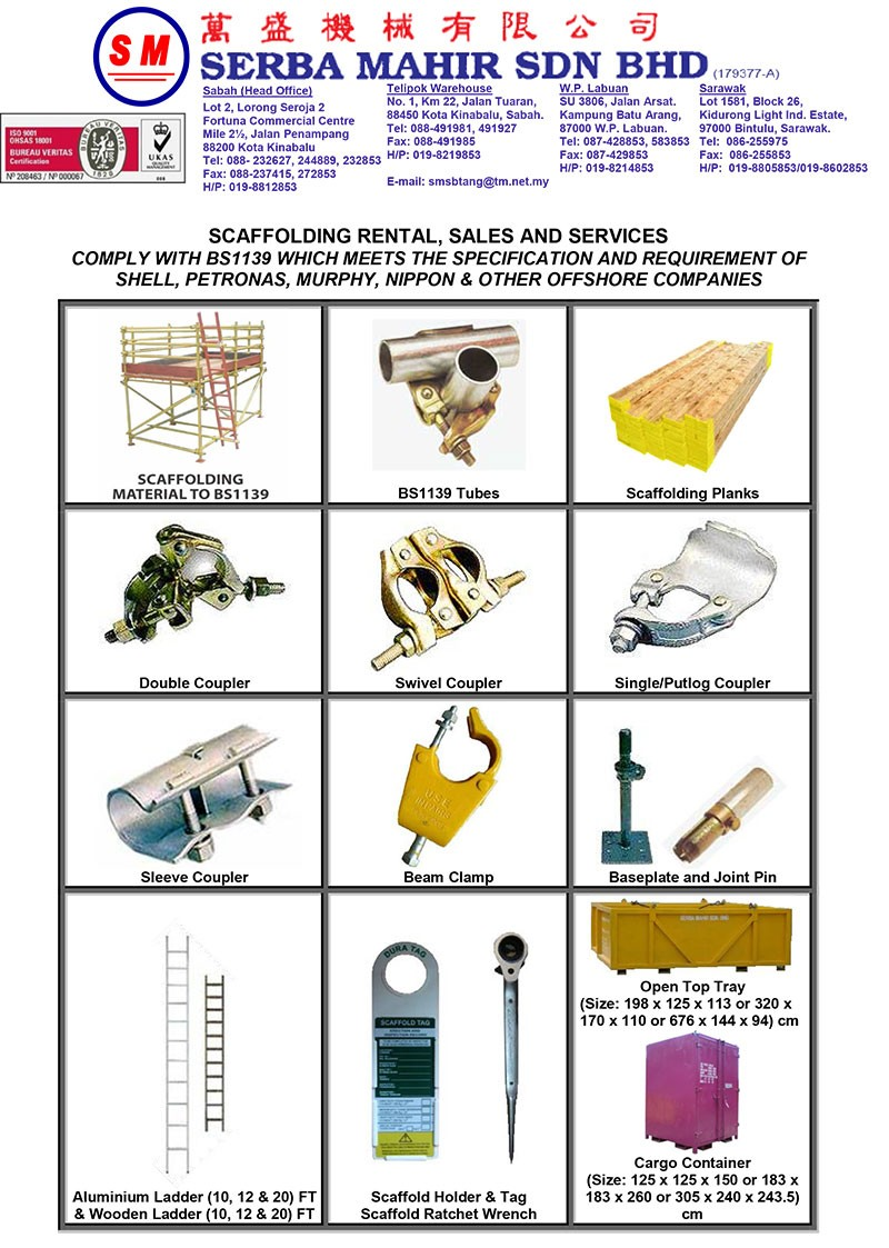 Scaffolding Parts Suppliers : Rental sales of scaffolding materials for oil gas