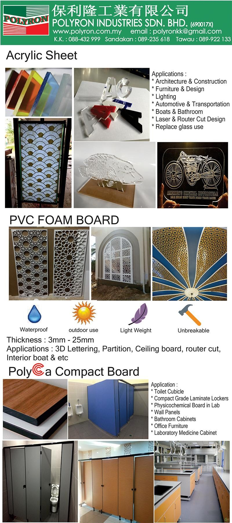 Supply in Sabah,Sarawak & Brunei Perspex Cast and Extrusion Acrylic